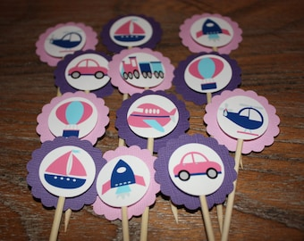Transportation / Vehicle Themed Cupcake Toppers (Cars, Trains, Planes, Boats, Etc.)-Color Theme of Pink, Purple & Blue - Set of 12