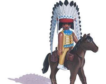 Playmobil Indian Chief, Toy Art Print, 5 x 7 Art Print, Playmobil Art, Collectible Toy Art, Kids Room Decor, Boys Room Art, Childrens Art