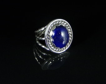 Lapis Ring Sterling Silver Handmade Size 6.5, R0251