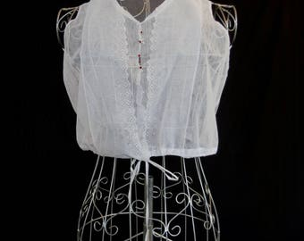 Antique Clothing - Edwardian - Net Lace Chemisette - Cropped Net Top - Bust 81 cm