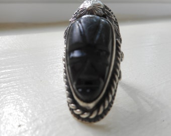 A Carved Black Onyx and Sterling Vintage Ring