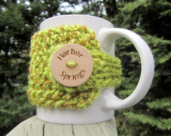 HARBOR SPRINGS Coffee Cup Cozy, Up North Michigan, Walloon Lake, Petoskey, Charlevoix, Traverse City, Up North, Michigan, Coffee Cozy Sleeve