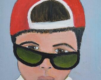 Oil Portrait Painting. Boy Wearing Black Sunglasses. Boys Room Art. Baseball Cap Original Small Art. Apartment Wall Art Decor.