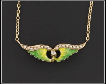 14k Gold Winged Necklace | Antique Pin Conversion Necklace | 14k Gold Enamel Wings Necklace | Winged Necklace