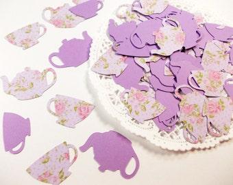 Tea Party Decoration, Floral Teapot Teacup Lavender Purple Confetti, Alice in Wonderland, Table Confetti, 100 Ct.
