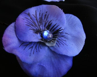Royal pansy - a mini pair - customizable on bobby pin, barrette, comb or alligator clip