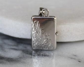 Vintage Flower Locket | 10k White Gold | Rectangle Picture Photo Locket Necklace