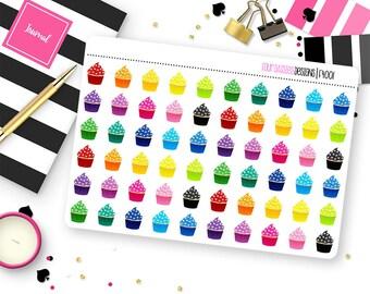 60 Cupcake Stickers for Erin Condren Life Planner, Plum Paper, or Mambi Happy Planner || F4001