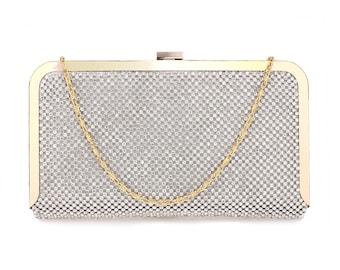 Silver Crystal Beaded  Evening Clutch Bag Wedding Clutch Box Evening Party Bag