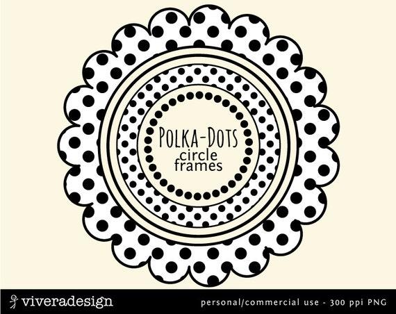 Digital Circle Frames in Polka Dots Black and White