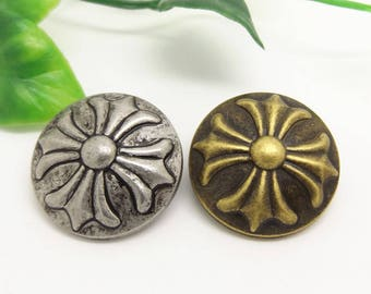 6 Pcs 0.49~0.98 Inches Retro Anti-silver/Bronze/Gold British Cross Metal Shank Buttons For Shirts Coats Sweaters