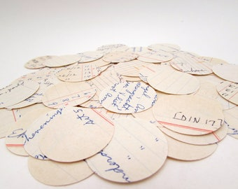 1.25 in Paper Circles - Ledger Paper - 100 Circle Punches - Handwritten - journaling - paper crafts - Vintage Business