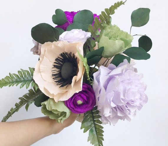 Crepe paper flower bouquet paper flower wedding bouquet boho like this item mightylinksfo