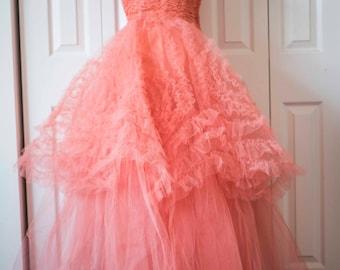 1950s Vintage Prom || Pink Tulle Gown || Vintage Dress