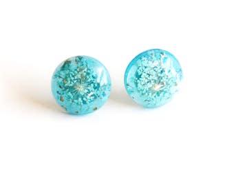 Resin Post Earrings -Post Earrings -Stud Resin Earrings -Stud Earrings - Mother's Day Gift Flower Resin earrings- Blue resin stud Earrings