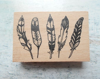 Wooden feathers - unity stamp