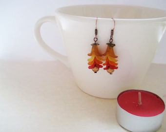 Fall colors stacked flower earrings