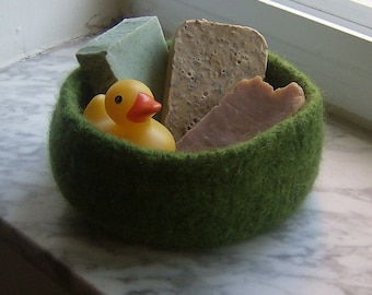 Moss Felted Wool Treasure Bowl