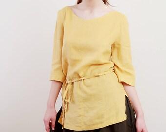 Linen Tunic for Woman 3/4 Sleeves / V-Neck Linen top in Mustard Color/ Linen Tank/Linen Top Eco Friendly/ Linen Blouse