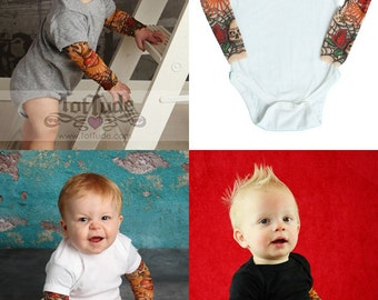 Rockabilly Tattoo Bodysuit Baby  - Long Sleeve Tattoo Shirt - Rockabilly Shirt - Baby skull shirt - Punk Baby Clothes - Punk Rock Baby