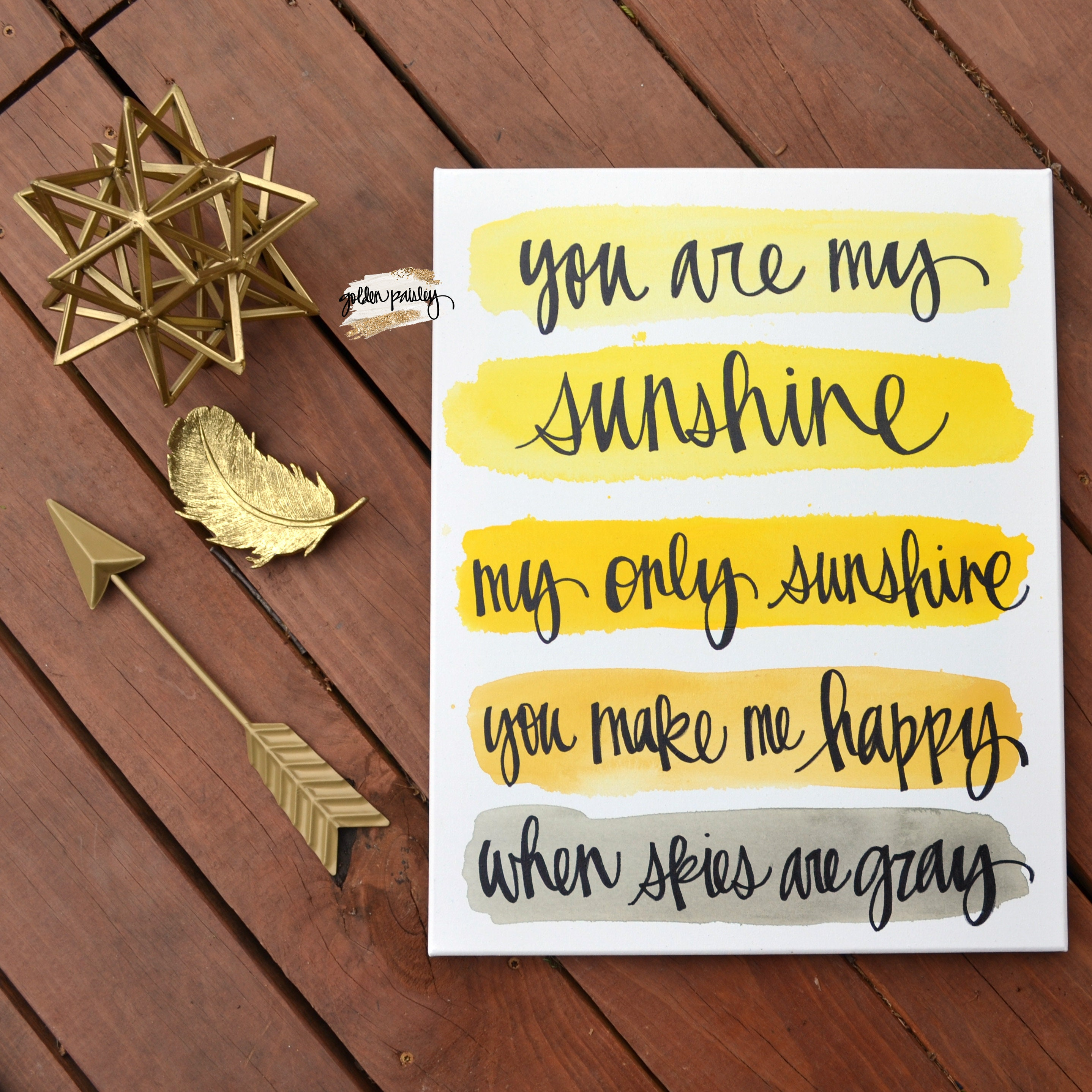 Yellow Gray Nursery Watercolor Quote Canvas Wall Art You Are