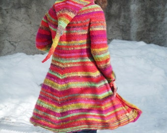 Boréal coat - Crochet pattern PDF to make a hooded elfin coat - English, German or French