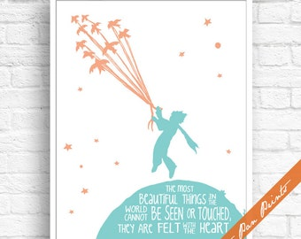 The Most Beautiful Things...Cannot be Seen..Felt with the Heart - The Little Prince Inspired Art Print (Unframed) (Aqua and Peach)