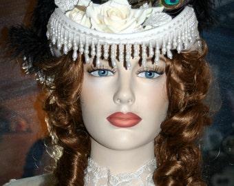 Ivory Kentucky Derby Hat, Victorian Hat, Riding Hat, Sidesaddle Hat, Cocktail Hat SASS Hat  - Spirit of San Jose