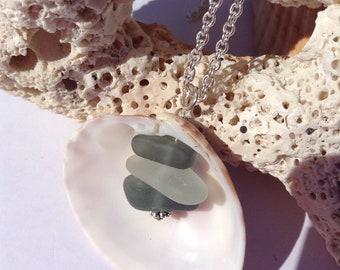 Florida Seashell with Grey Scottish Sea Glass, Authentic Sea Glass