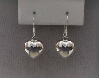 Sterling Silver Puffed Heart Earrings 25mm x 12mm.