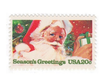 10 Unused Vintage Postage Stamps - 1983 20c Christmas Santa - Item No. 2064