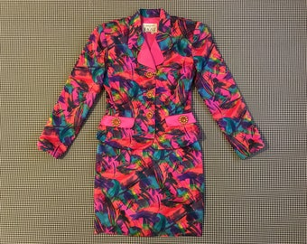 1990's, silk, blazer and skirt, set, in wild and colorful print, Women's size 6