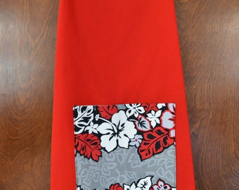 Hawaiian twill apron, red/gray/black pocket on red, ladies size S/M, 10-12