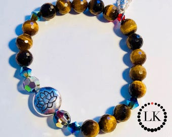 RISE UP - Faceted Tiger's Eye Lotus Bracelet w/Swarovski Crystals