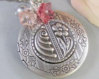 Pocket of Posies,Locket, Antique Locket,Silver Locket,Flower,Pink, Posey,Blush, Rose,Love. Handmade jewelry by valleygirldesigns