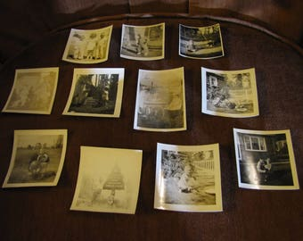 Vintage Photographs Set of 11 Home Photos w Children, Parents, Buildings, Dogs, Toys, Parks, and Travel circa 1940s - 1950s Black & White