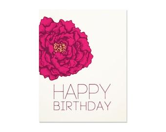 Birthday Card - Pink Peony