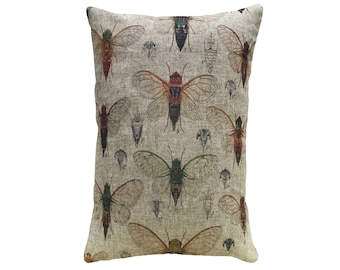 Bugs Throw Pillow, Rustic Linen Lumbar Pillow, Cottage