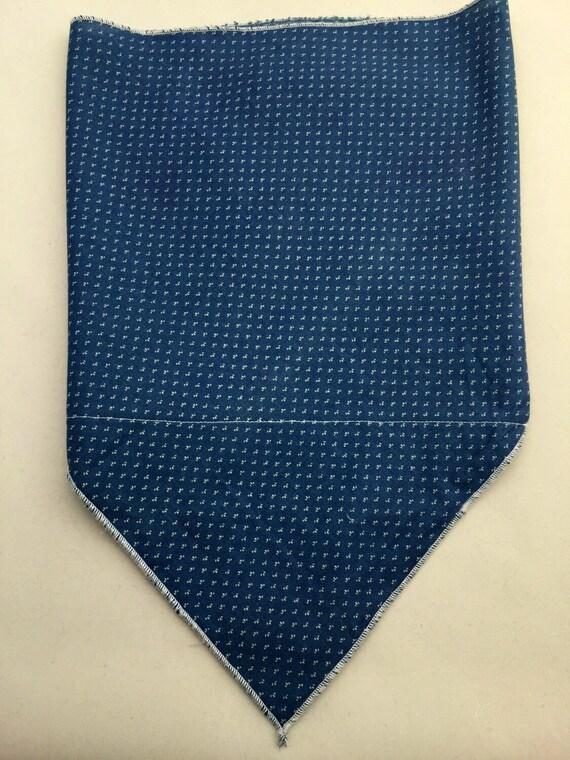 Classic Calico: Cotton denim-blue and white calico print Stash Pocket Bandana