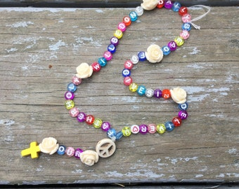 Our Father Helper Rosary with roses and rainbow letters