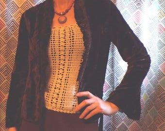 1900's 1910's BROWN SILK VELVET wrap jacket xs S