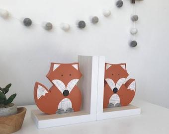 Fox Bookends, Orange and White, Gender Neutral, Woodland Nursery, Woodland Kids Decor, Children's Bookends, Fox Nursery, Forest Themed Baby