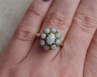 Antique opal ring - engagement ring - promise ring - stacking ring - opal ring - october birthstone - opal ring - opal cluster
