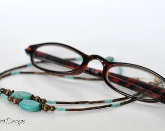 Beaded Eyeglass Chain, Turquoise Eyeglass Chain, Sunglasses Chain, Glasses Necklace, Eyeglass Leash, Turquoise Lanyard, Eye Wear