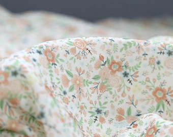 Flowers Cotton Double Gauze Fabric - 59 Inches Wide - By the Yard 92522