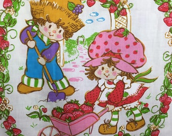 Vintage 80s Bed Sheet Strawberry Shortcake and Friends Flat Bed Sheet