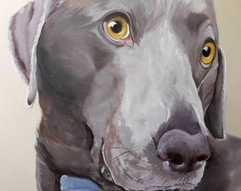 """Pet Portrait Oil Painting, 18"""" x 24"""" Large Sizes on Canvas, Weimaraner Mix or any breed, Custom from Photographs Gift Certificate"""