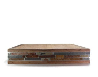 Cake Stand - Wood and tile - Rustic Wedding Decor - Cake Decorations - Events