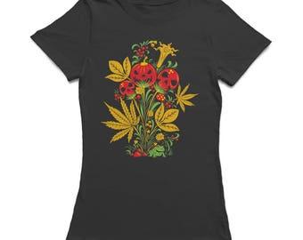 Psychedelic Pumpkin And Skulls Halloween  Plant Women's Black T-shirt