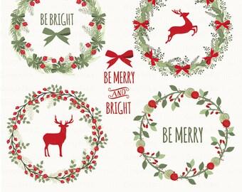 Chalkboard Rustic Christmas. Christmas Clipart. Christmas